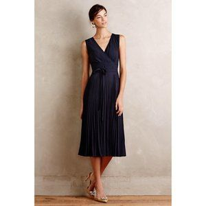 Anthro Leifsdottir Pleated Navy Silk Merle Dress 4